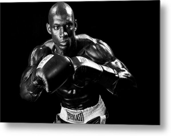 Black Boxer In Black And White 07 Metal Print