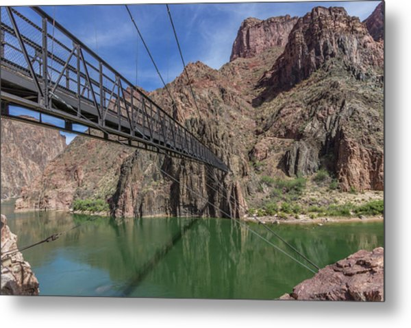 Black Bridge Over The Colorado River At Bottom Of Grand Canyon Metal Print