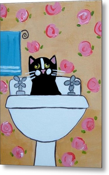 Black Cat In Sink Metal Print by Christine Quimby