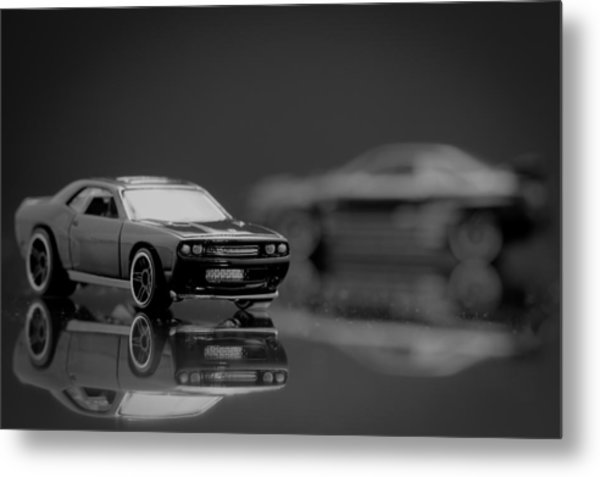 Black Dodge Challenger Metal Print