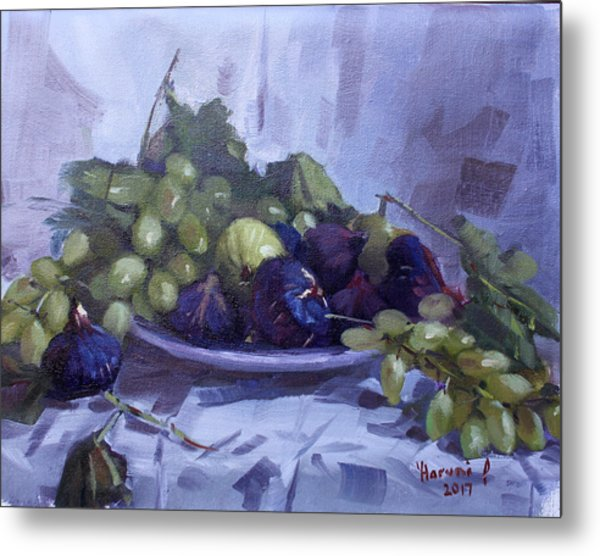 Black Figs And Grape Metal Print
