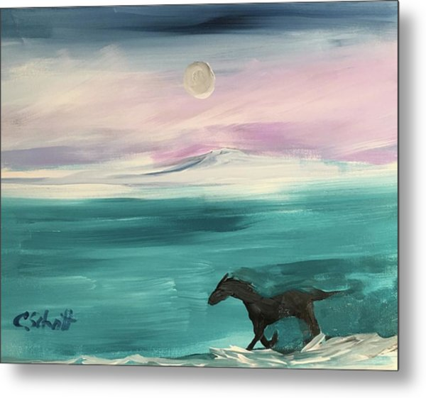 Black Horse Follows The Moon Metal Print