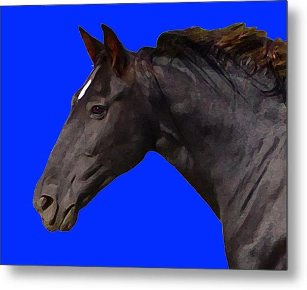 Black Horse Spirit Blue Metal Print