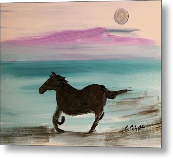 Black Horse With Moon Metal Print