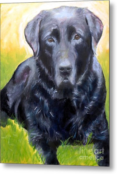 Black Lab Pet Portrait Metal Print