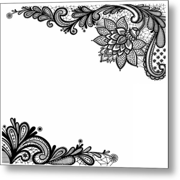 Metal Print featuring the digital art Black Lace Print On White by Marianna Mills