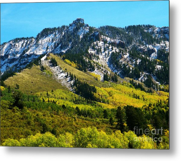 Black Mesa Rocky Peak In Autumn Metal Print