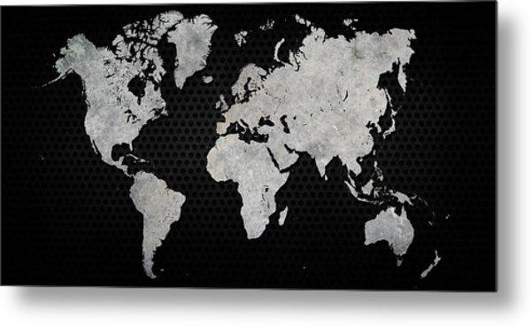 Black Metal Industrial World Map Metal Print