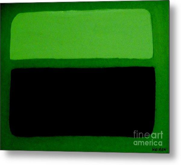 Black On Dark Green And Medium Green Metal Print by Marsha Heiken