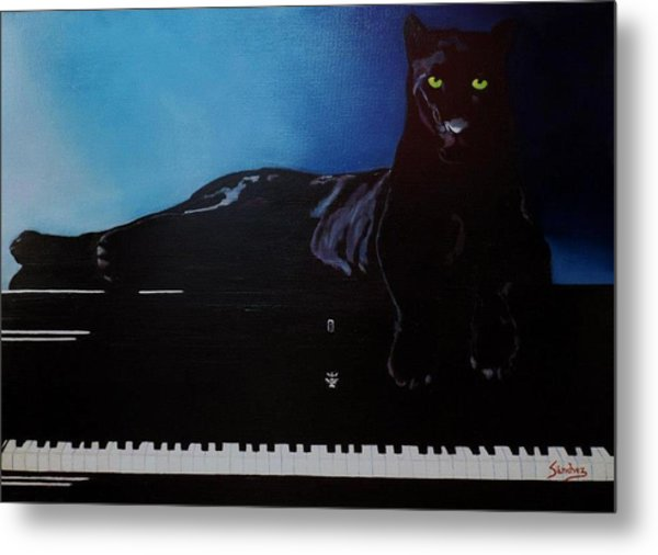Black Panther And His Piano Metal Print