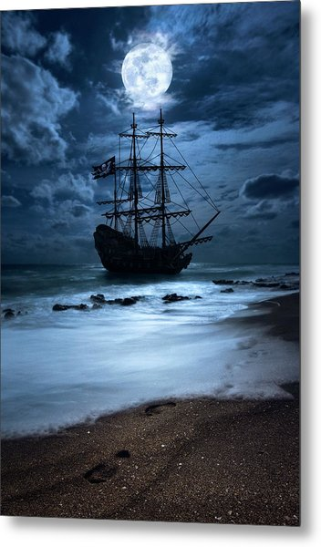 Black Pearl Pirate Ship Landing Under Full Moon Metal Print