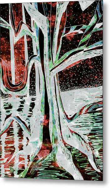 Black-red Moonlight River Tree Metal Print