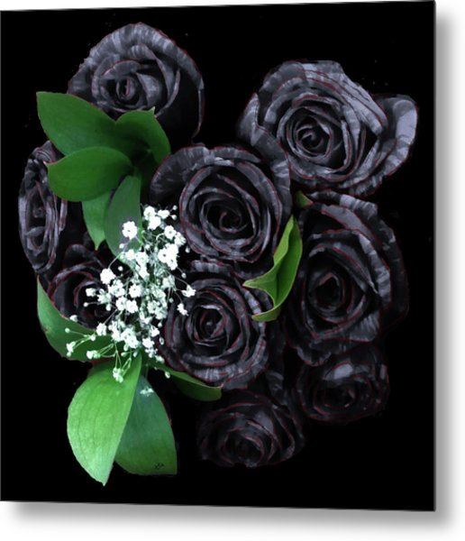Black Roses Bouquet Metal Print