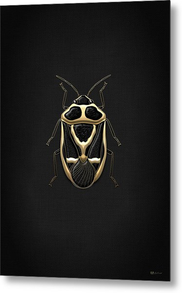 Black Shieldbug With Gold Accents  Metal Print