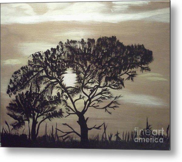 Black Silhouette Tree Metal Print