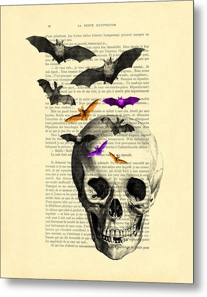 Black Skull And Bats On A Dictionary Page Metal Print