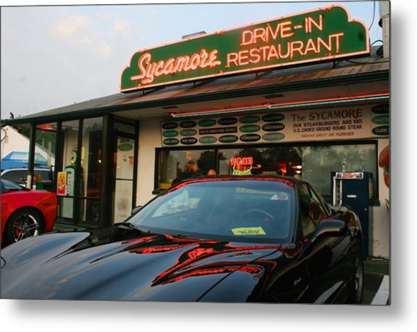 Black Sports Car In Front Of The Sycamore Metal Print