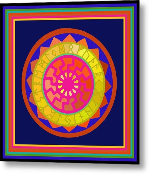 Black Sun Mandala Rune Calendar Metal Print