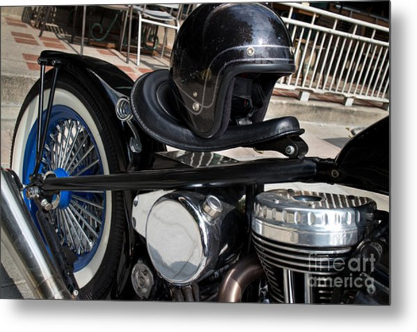 Black Vintage Style Motorcycle With Chrome And Black Helmet Metal Print