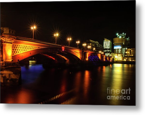 Blackfriars Bridge Illuminated In Orange Metal Print