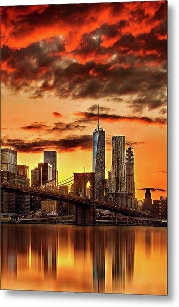 Blazing Manhattan Skyline Metal Print