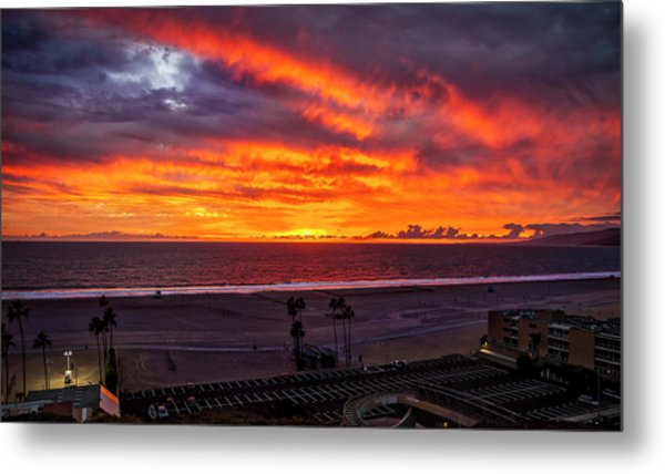 Blazing Sunset Over Malibu Metal Print