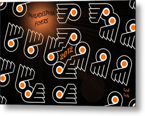 Bleeding Orange And Black - Flyers Metal Print