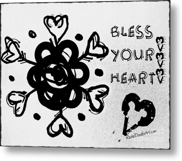 Metal Print featuring the drawing Bless Your Heart by Rachel Maynard