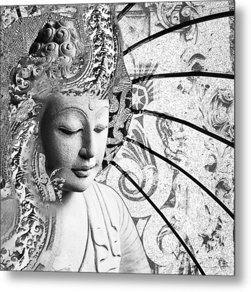Metal Print featuring the digital art Bliss Of Being - Black And White Buddha Art by Christopher Beikmann