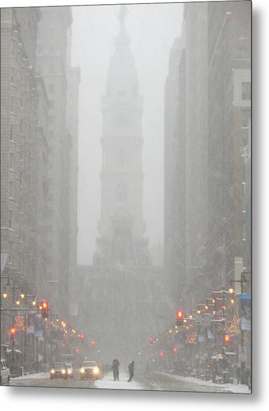 Snow In The City Metal Print