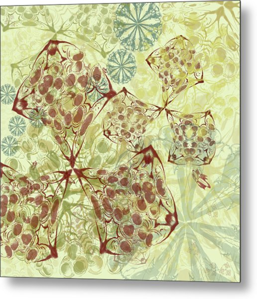 Blob Flower Painting #1 Pale Yellow Metal Print