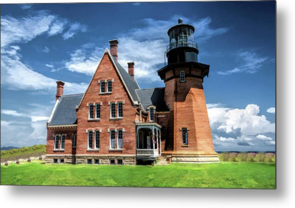Metal Print featuring the painting Block Island Southeast Lighthouse by Christopher Arndt