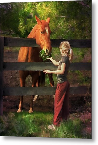Blond With Horse Metal Print