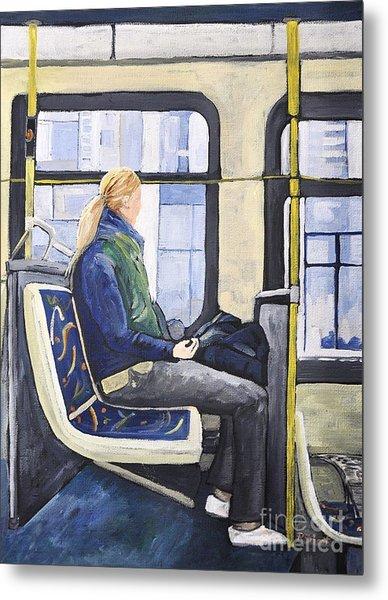 Blonde Girl On 107 Bus Montreal Metal Print