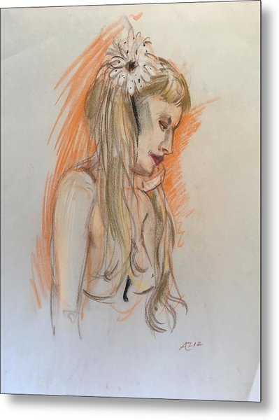 Blonde With White Flower Metal Print by Alejandro Lopez-Tasso