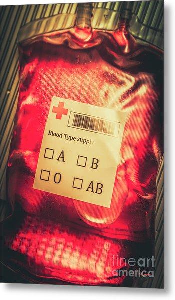 Blood Donation Bag Metal Print