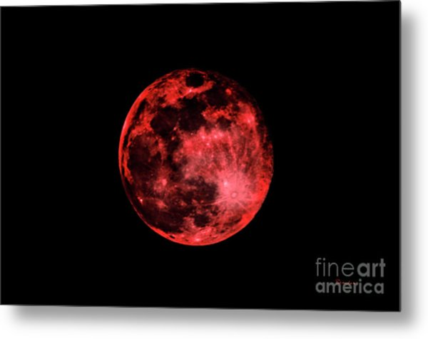 Blood Red Moonscape 3644b Metal Print