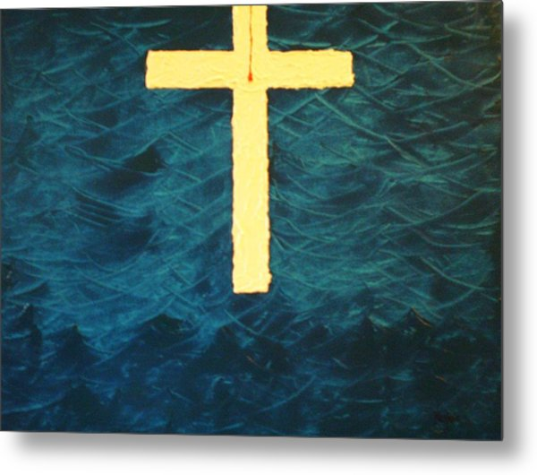 Blood Stained Cross Metal Print