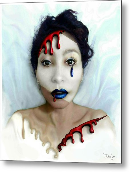 Metal Print featuring the digital art Blood Sweat Tears Faced by Doe-Lyn