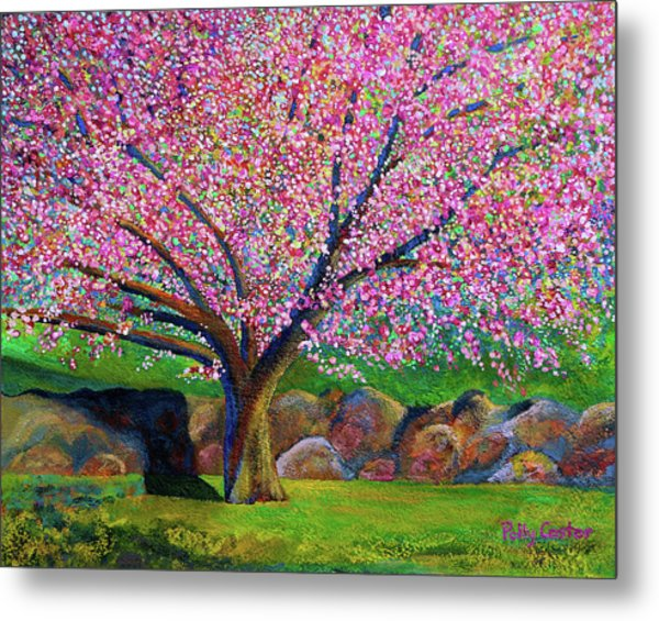 Blooming Crabapple In Evening Light Metal Print