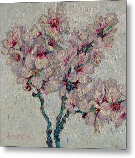 Blossoming Peaches Branch Metal Print by Vitali Komarov