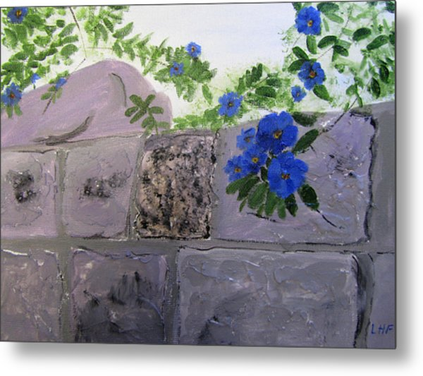 Metal Print featuring the painting Blossoms Along The Wall by Linda Feinberg