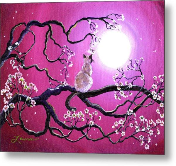 Blossoms In Fuchsia Moonlight Metal Print