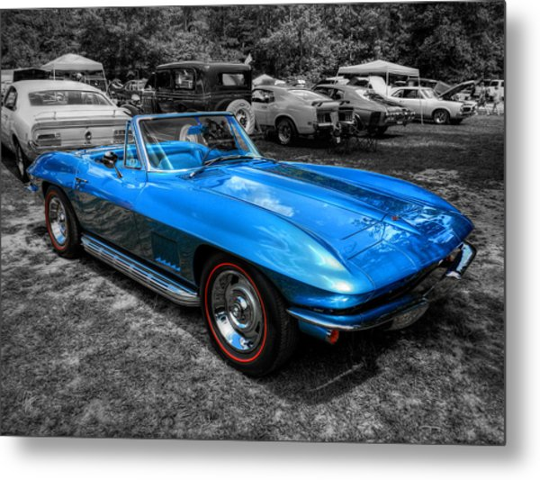 Blue '67 Corvette Stingray 001 Metal Print