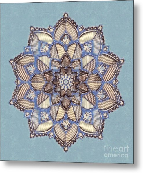 Metal Print featuring the painting Blue And White Mandala by Lita Kelley