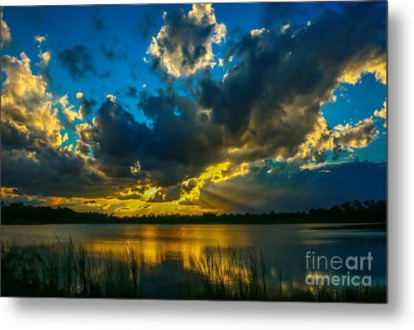 Blue And Gold Sunset With Rays Metal Print