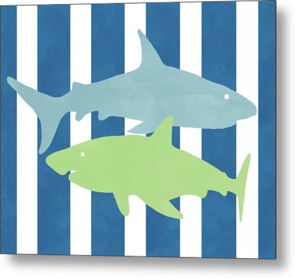 Blue And Green Sharks- Art By Linda Woods Metal Print