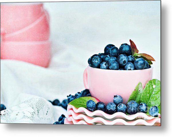 Blue And Pink Metal Print