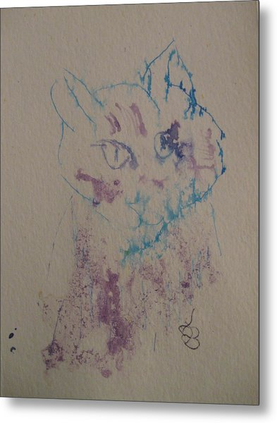 Metal Print featuring the drawing Blue And Purple Cat by AJ Brown
