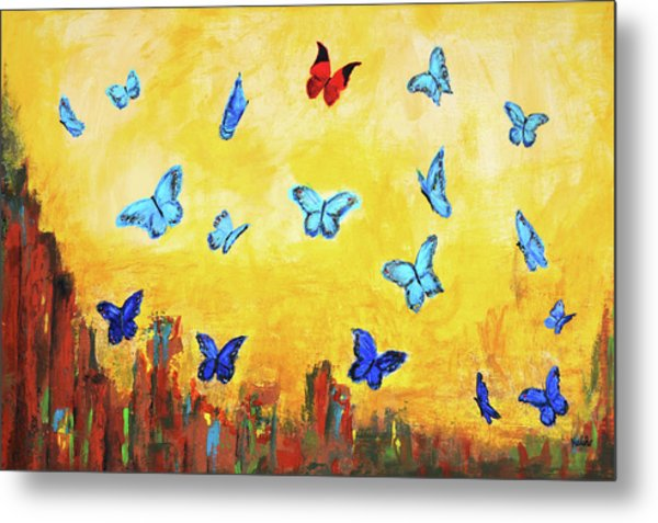Blue And Red Butterflies Metal Print